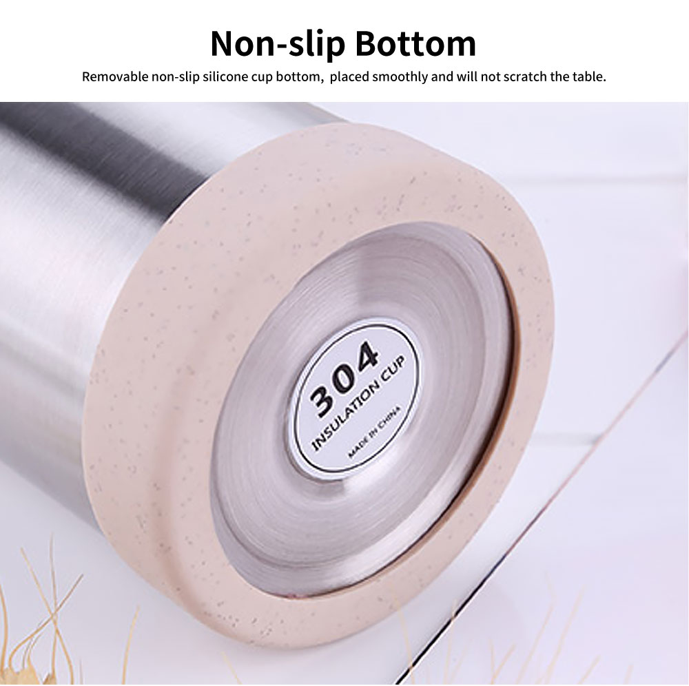 Wheat Straw Stainless Steel Thermos Cup, Student Simple Portable Water Cup, Female Fresh Literary Water Bottle 4