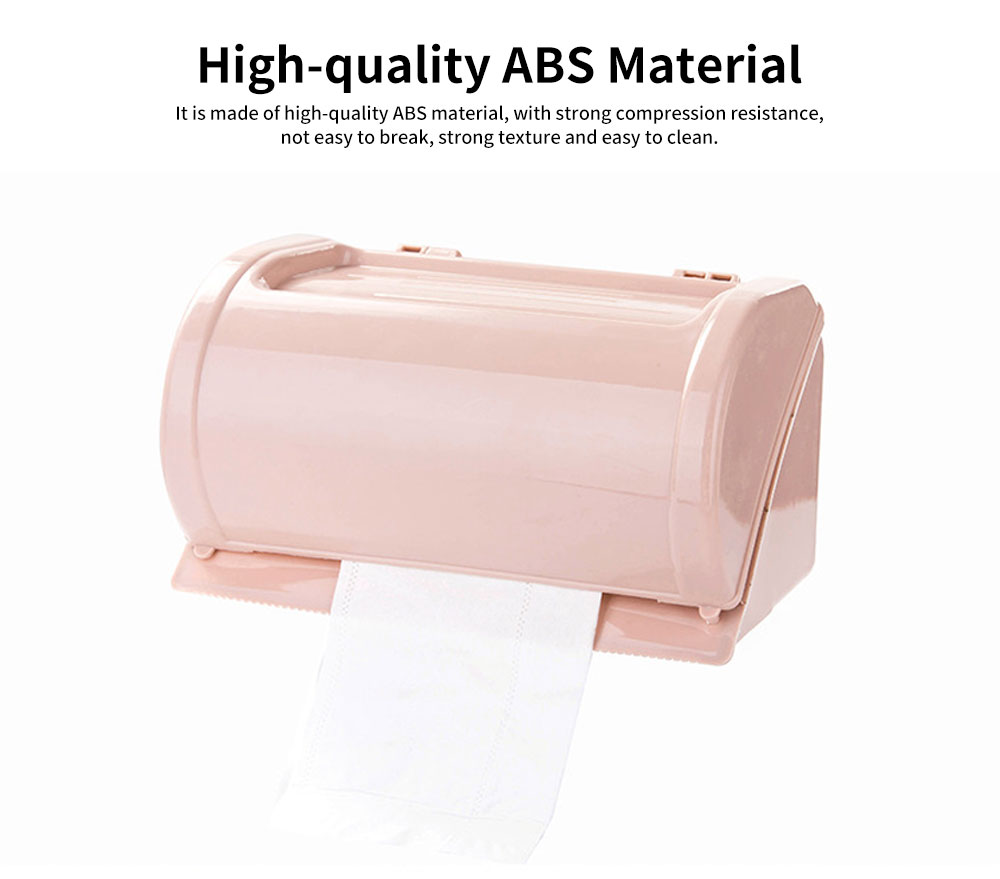 Punch-free Toilet Tissue Box, High-quality ABS Waterproof Roll Paper Container, with Grooved Top Lid Design 3