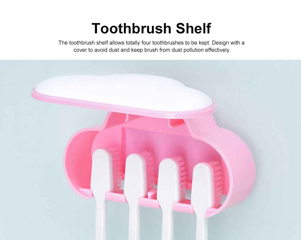 Self-driven Toothpaste Dispenser Lovely Automatic Squeezer Set Anti-dust Stylish Toothbrush Shelf Wall-mounted Storage Shelf No Drilling in Bathrooms 3