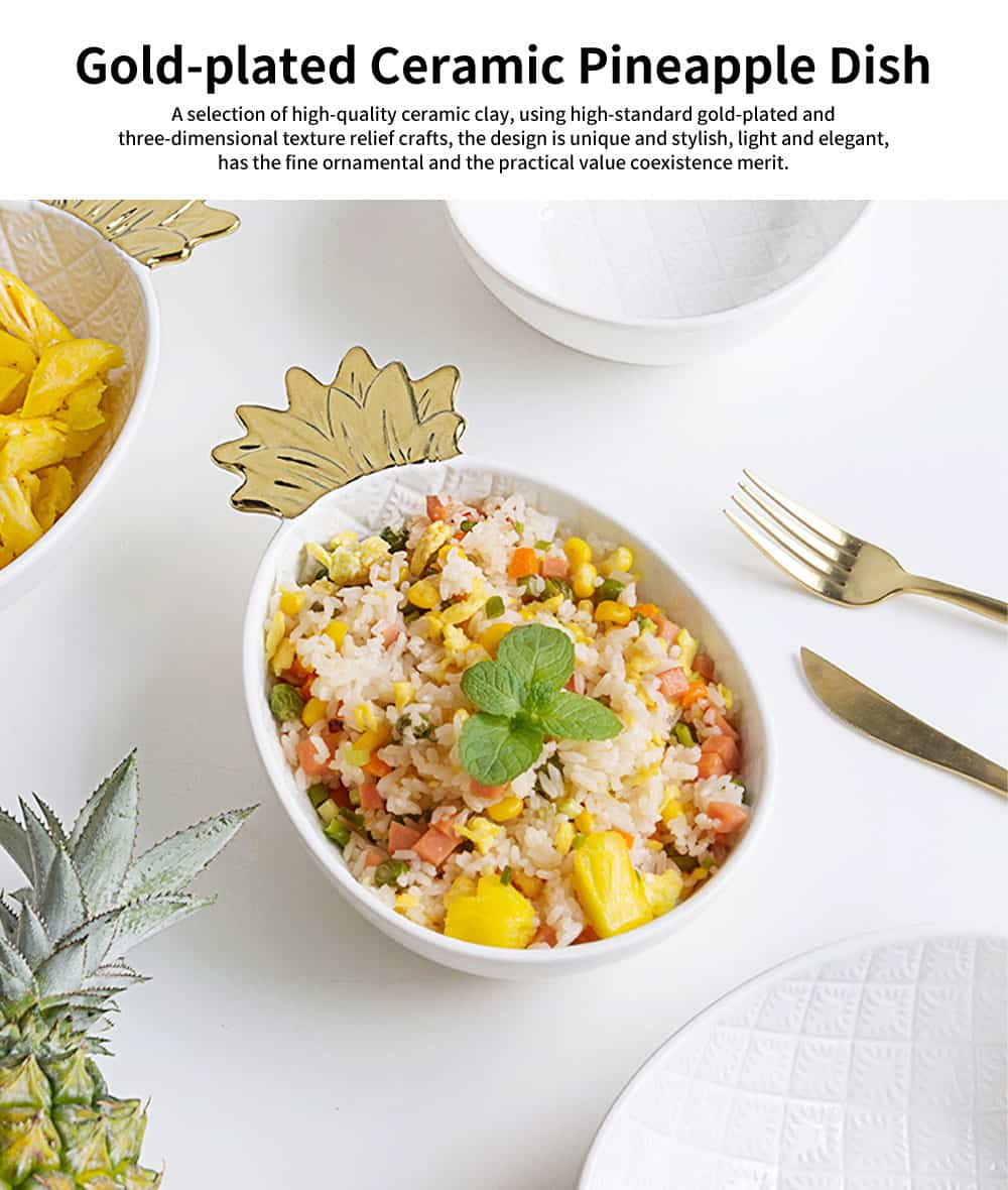 Gold-Plated Ceramic Pineapple Dishes, Nordic Jewelry Pendulum Tableware, Creative Household Plates 0