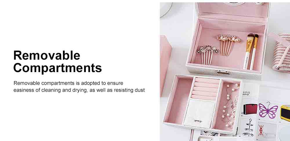 Double-layer Jewel Box for Jewelries of Ear Rings Small Size Ear Studs Jewelry Case for Necklace Finger Rings PU-made Jewelry Storage Box 5