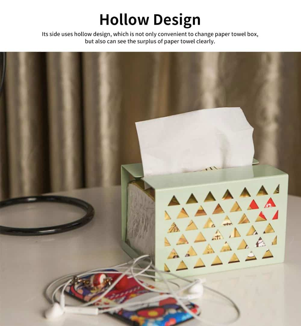 Thickened Iron Simple Tissue Box, Creative Hollow Paper Towel Container, Home, Office, Shop Essential 3