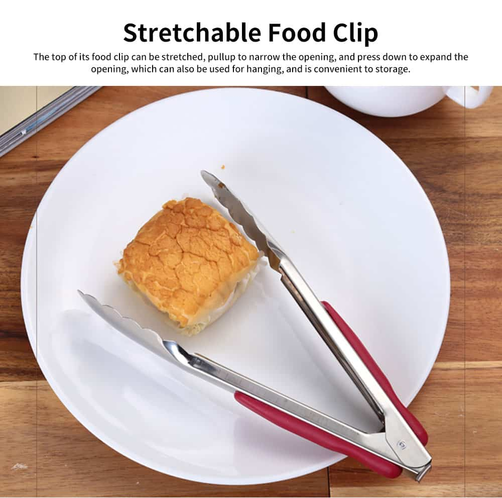Stainless Steel with Plastic Handle Bread Clip, Multifunctional Food Clip for Clipping Pastry, Bread, Cooked Food 2