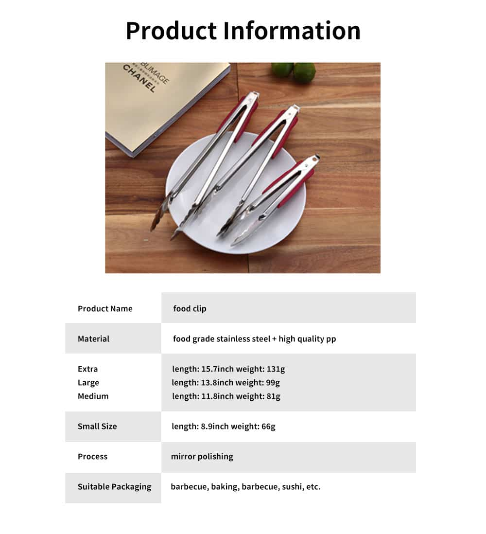 Stainless Steel with Plastic Handle Bread Clip, Multifunctional Food Clip for Clipping Pastry, Bread, Cooked Food 6