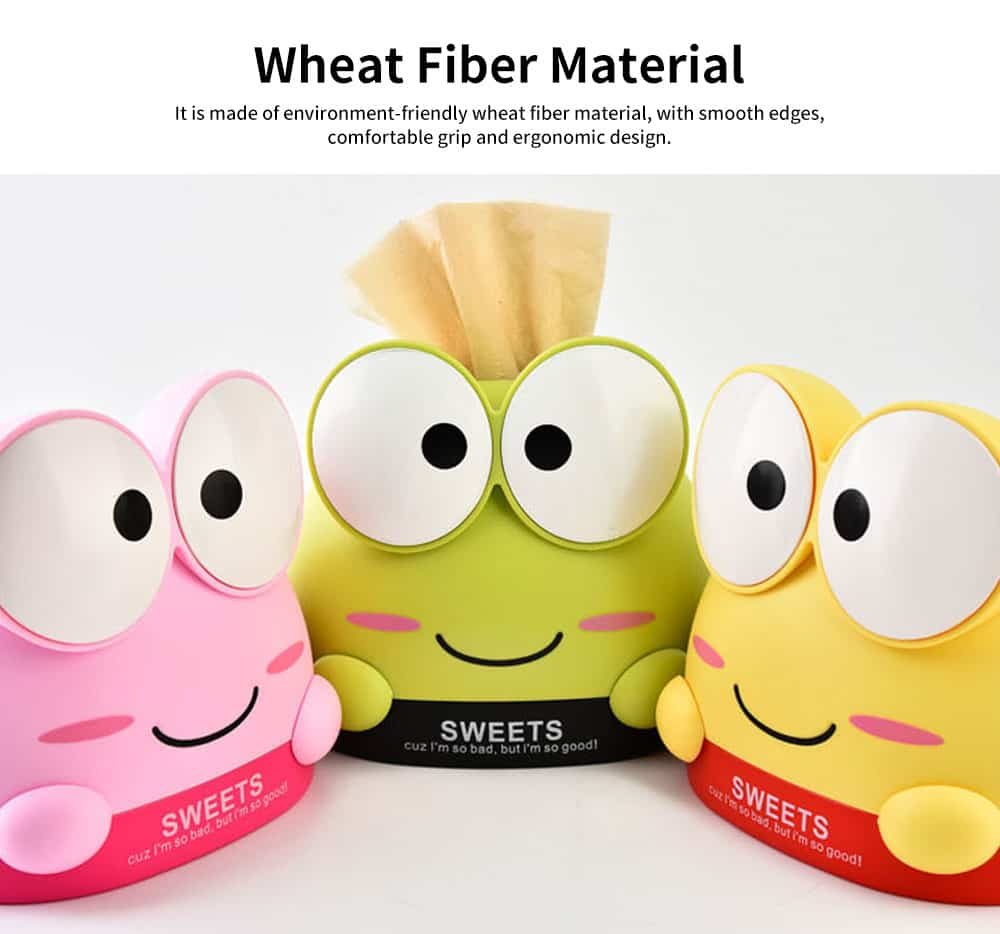Cute Cartoon Frog Paper Towel Container, Environment-friendly Wheat Fiber Tissue Box, with Delicate Frog Appearance 3