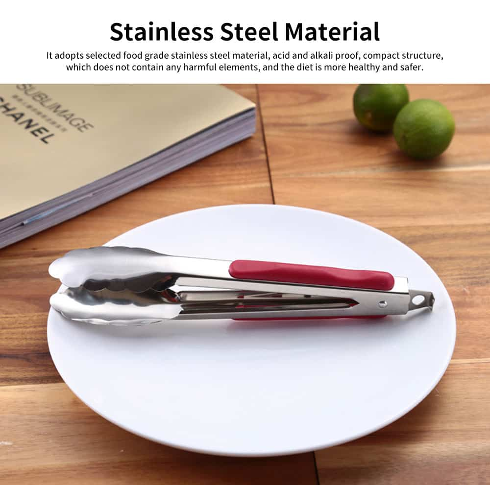 Stainless Steel with Plastic Handle Bread Clip, Multifunctional Food Clip for Clipping Pastry, Bread, Cooked Food 1