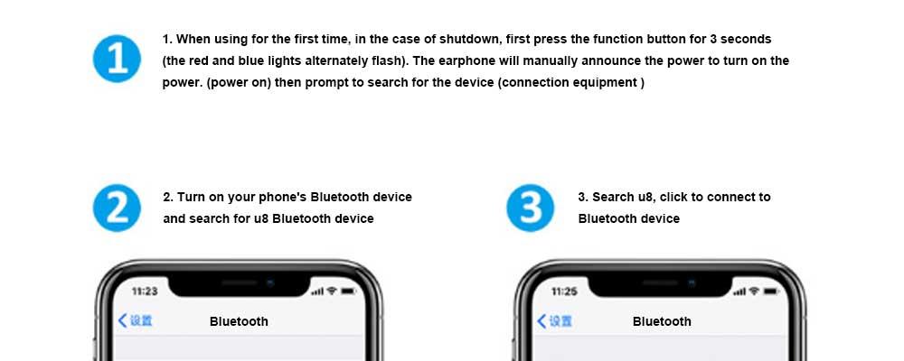 New U8 Wireless Bluetooth Headset, Hanging Ear Running Universal Headphone, Waterproof Earphone 9