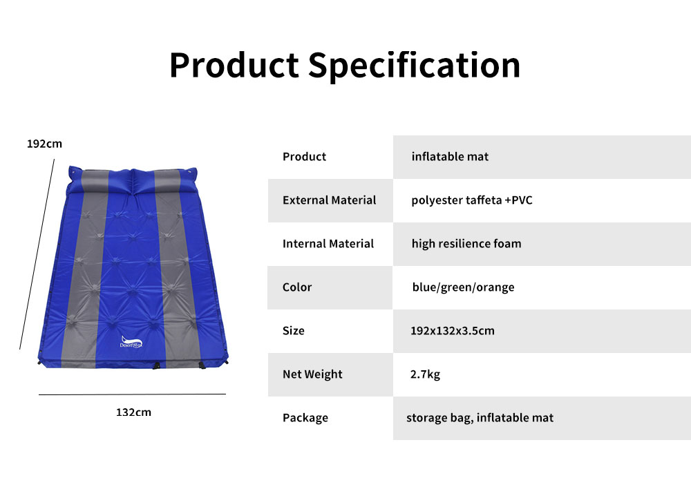 Double Automatic Inflatable Picnic Sleeping Mat with Pillows, Water Resistant & Cold Protection Sleeping Cushion 7