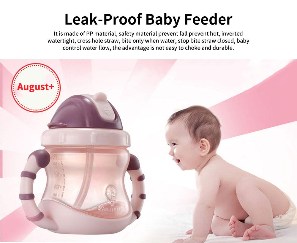 Leak-proof Baby Feeder, PP Water Cup with Handle, Anti-drop Kindergarten Baby Straw Bottle 0
