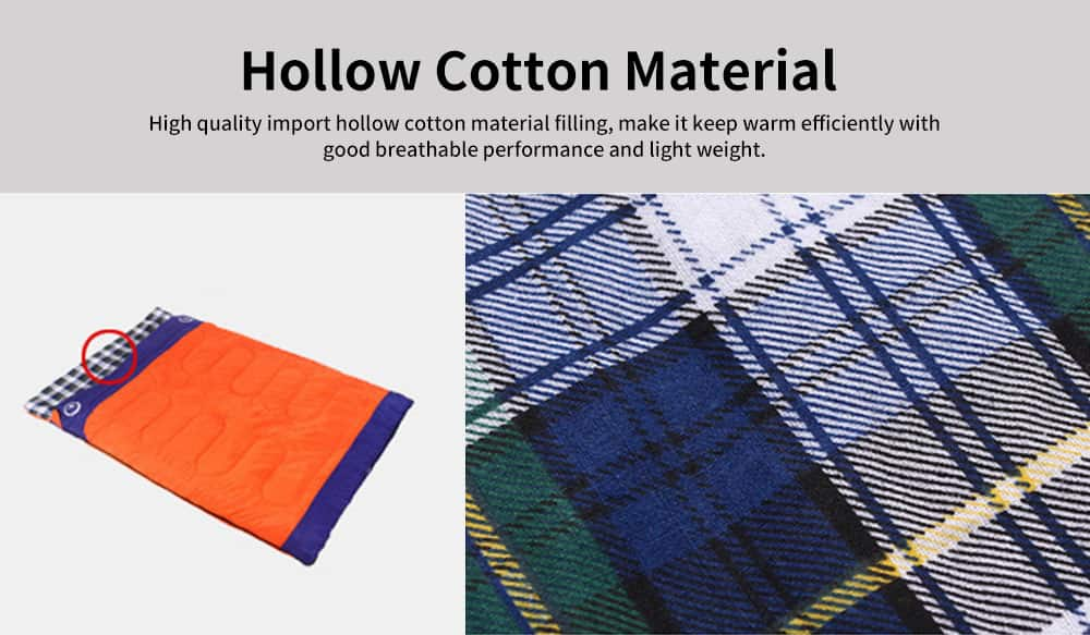Hollow Cotton Adult Sleeping Bag for Camping Hiking 2 in 1 Single/Double Warm Sleeping Bag 2