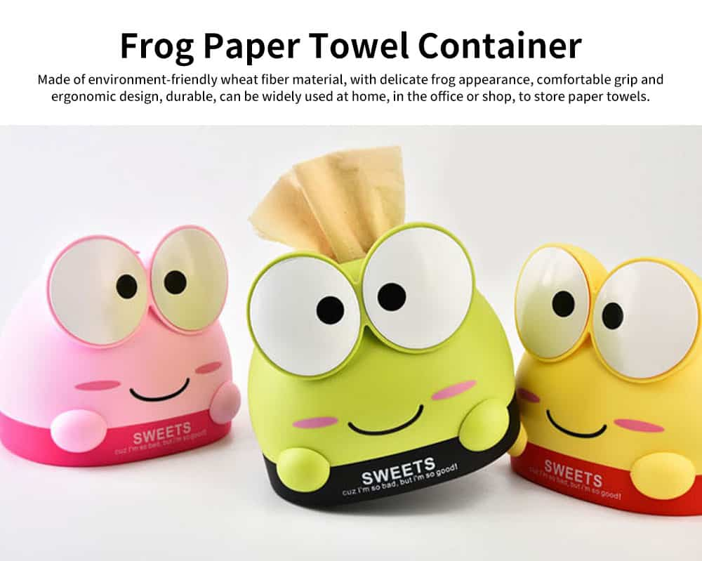 Cute Cartoon Frog Paper Towel Container, Environment-friendly Wheat Fiber Tissue Box, with Delicate Frog Appearance 0