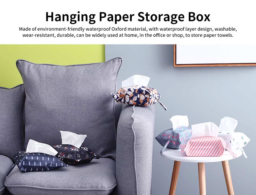 New Creative Hanging Paper Storage Boxes, Waterproof Oxford Fabric Tissue Bag, Home, Office, Shop Essential 0