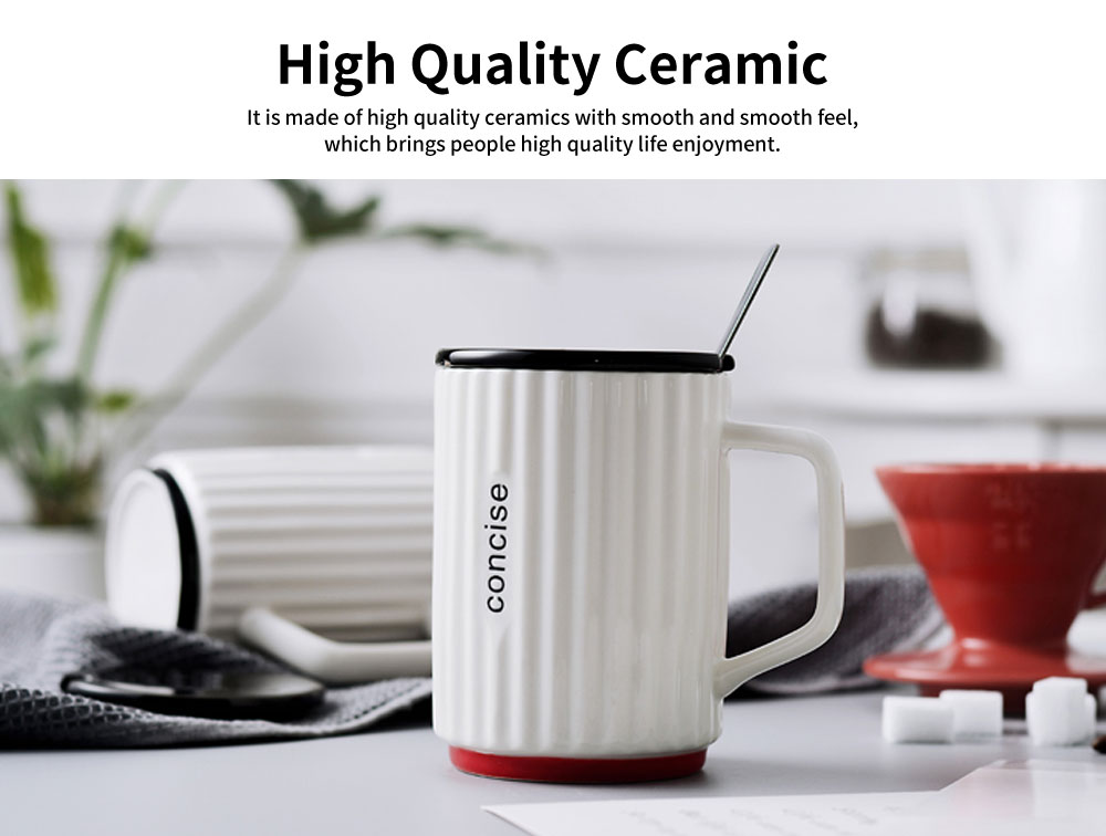 Creative Simple Ceramic Cup, Nordic Household Milk Cup with Lid Spoon, Office Drinking Mug 1