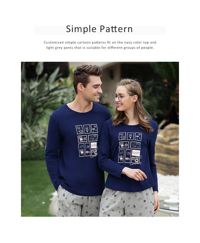 Pajamas Set for Couple, Long Sleeve Pajama for Autumn and Winter, 100% Cotton Homewear Set, Simple Designed Sleepwear Set 3