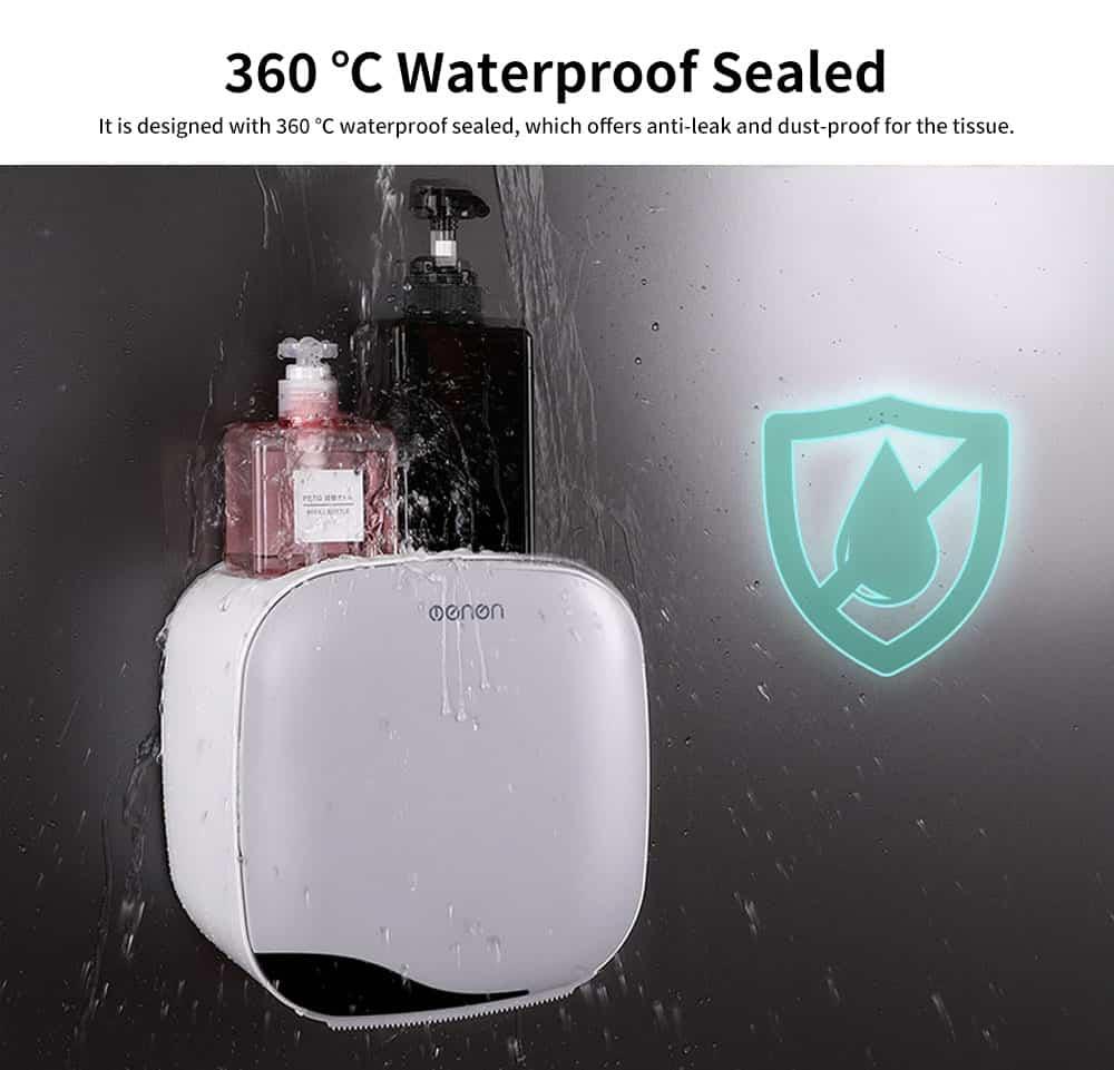Bathroom Tissue Box, Punch-free Roll Paper Storage Box, with Convenient Type Spring Lock Design 4