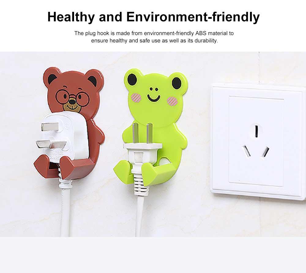 Cartoon Animal Plug Holder for Kitchen Power Supply Sticky Hook for Plug Lovely Animal Shape Wall-mounted Sticky Plug Holder Household Plug Storage Helper 2