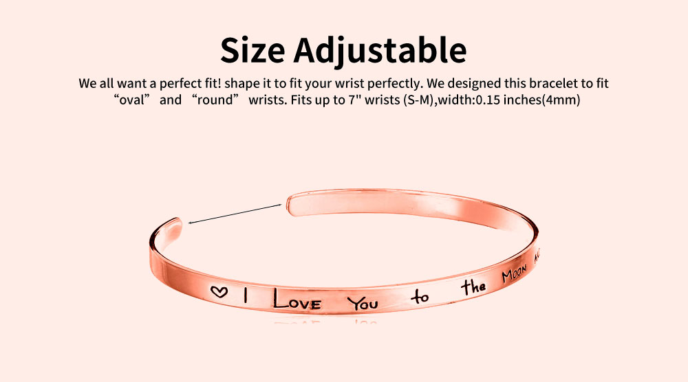 Unisex Bracelet Lady Simple Lettering Plated Stainless Steel Bangle Fashion Jewelry Accessories Elegant Lover Bracelets Valentines Gift For Girlfriend Boyfriend 3