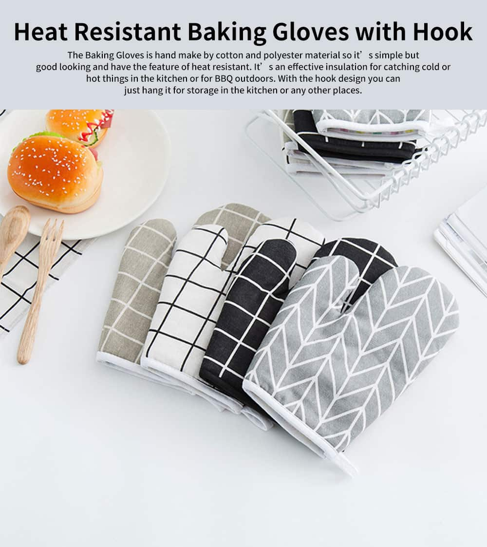 Heat Resistant Baking Gloves for Oven Kitchen BBQ Cooking, Cotton Polyester Thermal Resistant Baking Gloves 0