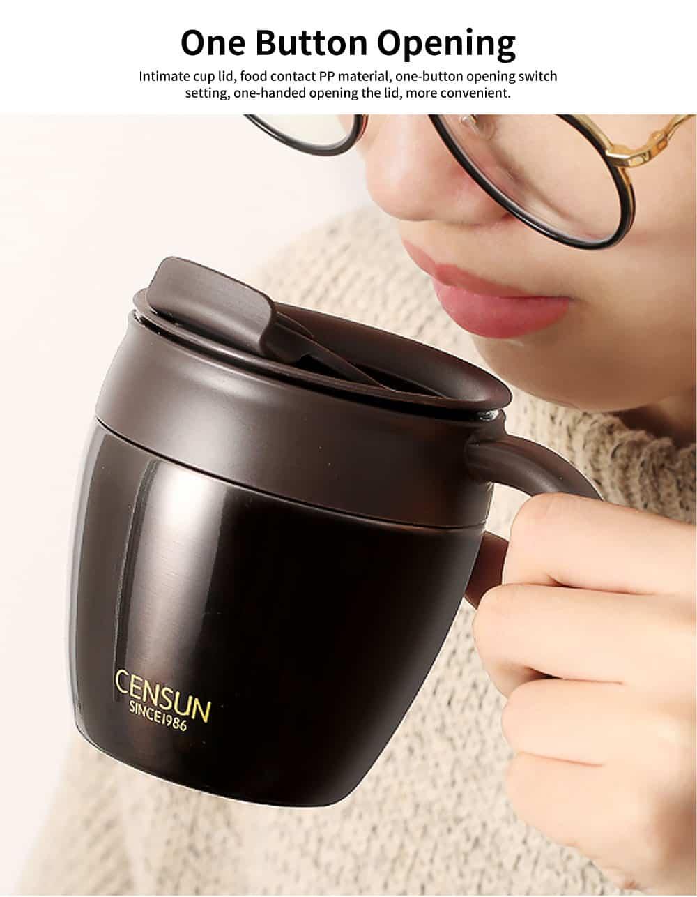 Continental Breakfast Coffee Mug, Simple Mug, Insulated Mug with Covered Spoon 3
