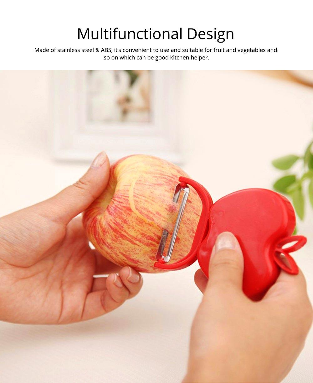 Multifunctional Foldable Peeler Knife with Apple Shape, Portable Vegetable Potato Fruit Peeler, Kitchen Cut Tools 1