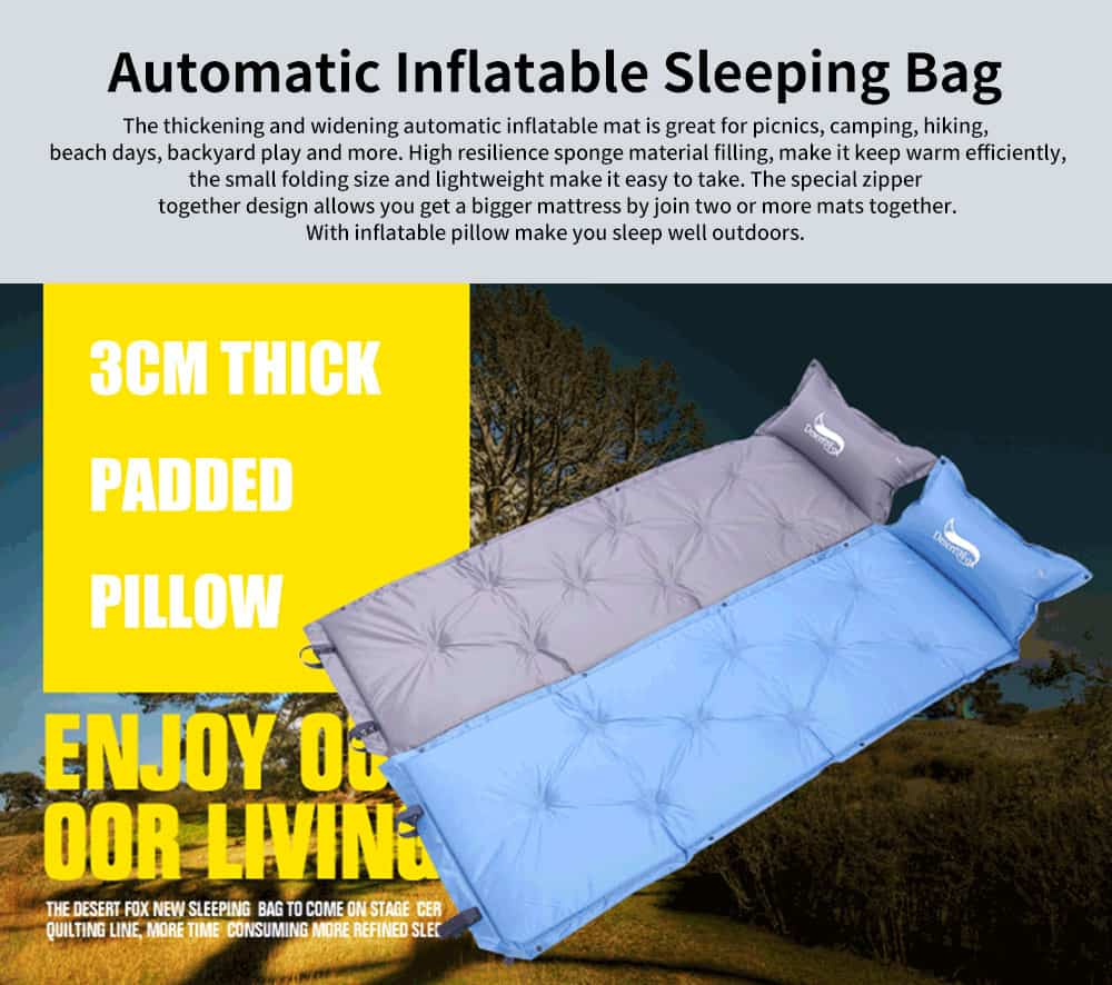 Automatic Inflatable Sleeping Bag with Pillows, Picnic Camping Essential Sleeping Bed 0