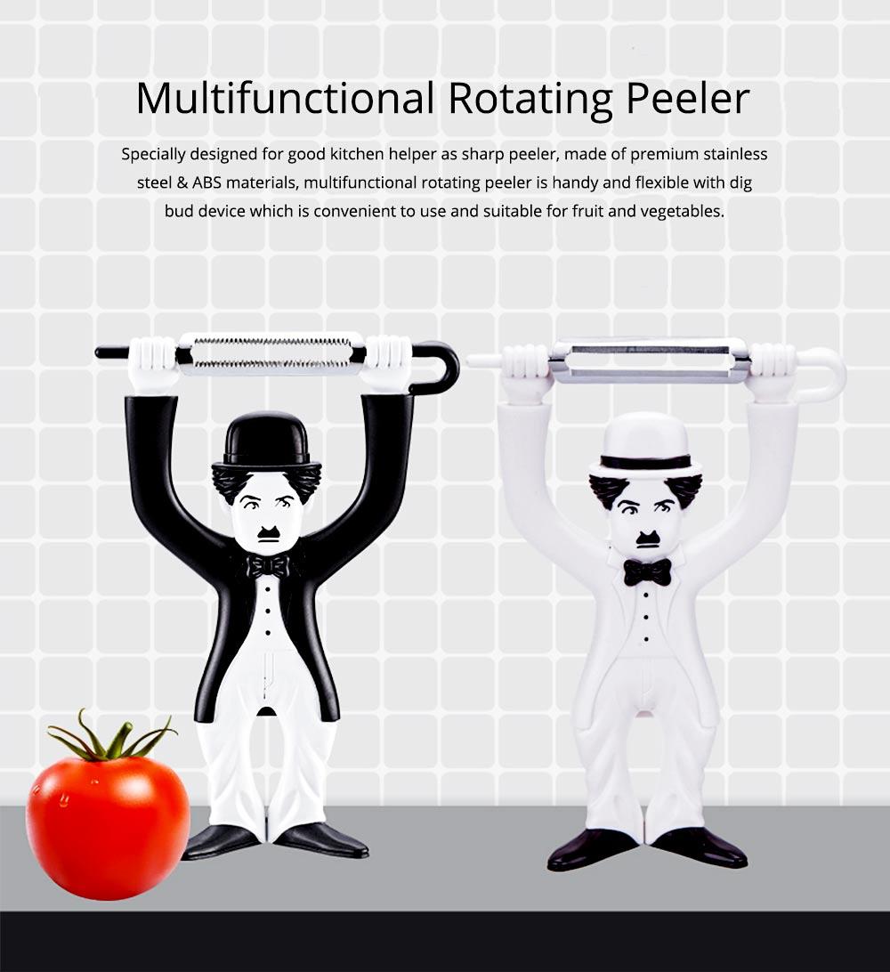 Multifunctional Peeler Knife with Chaplin Design Portable Vegetable Potato Fruit Peeler, Kitchen Cut Tools 0