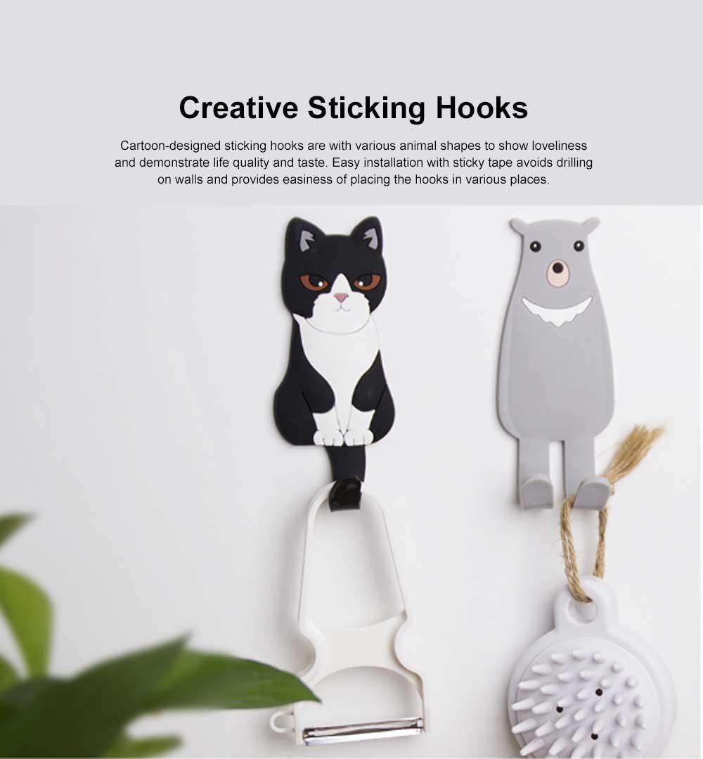 Creative Cartoon-designed Sticking Hook Back-door Used Animal Shape Hook Lovely Style  Sticky Tape for Installation No Drilling Sticky Hooks 0