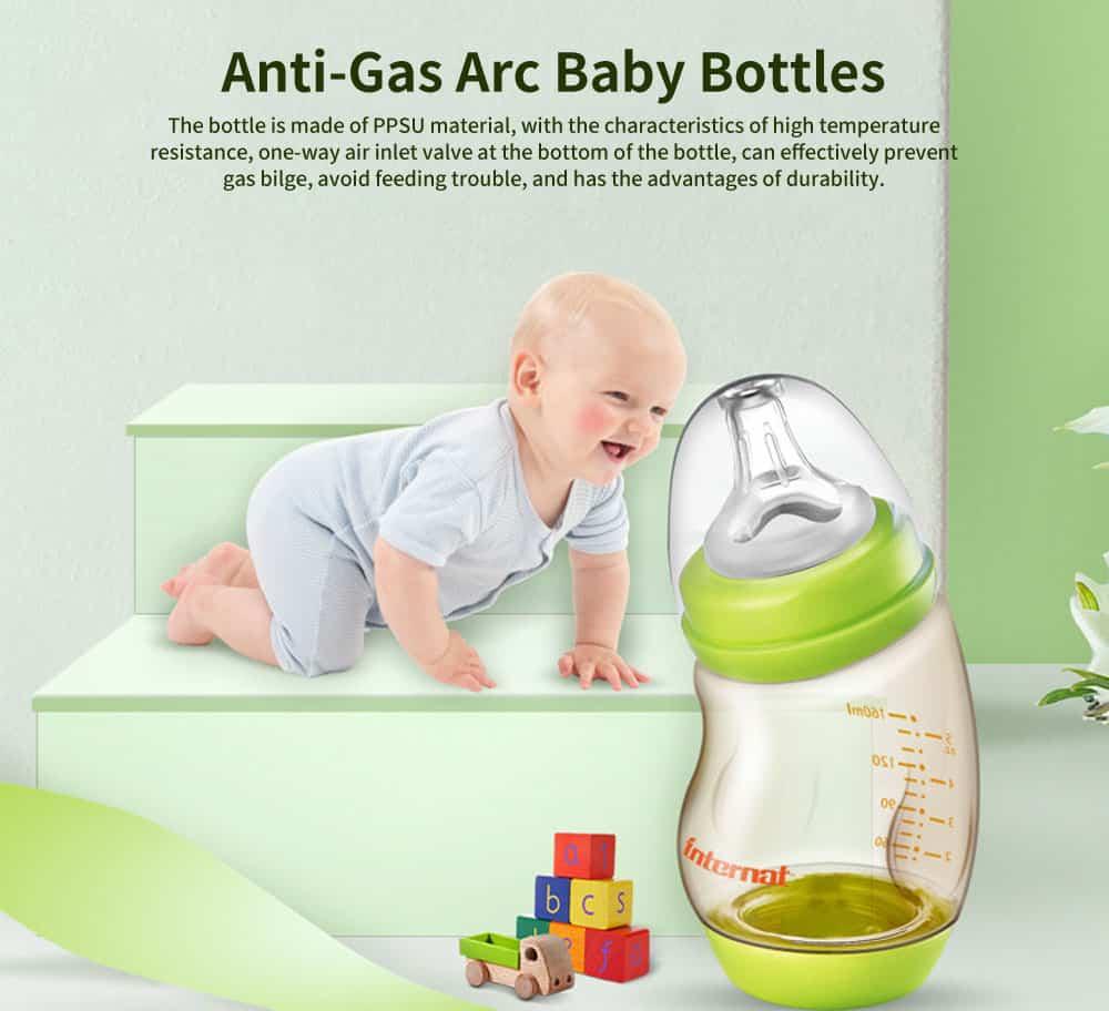 PPSU High Temperature Resistant Newborn Bottles, Anti-Gas Arc Baby Bottles, Wide Caliber Tilting Bottles 0