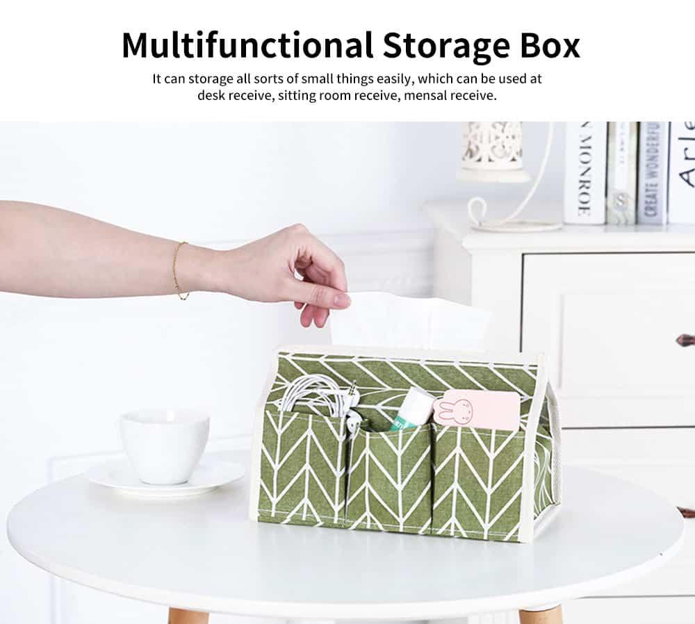 Cotton Linen Paper Towel Box, Garden Wind Multifunctional Paper Towel Storage Container, with Waterproof Layer Design 4