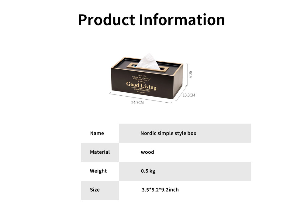 Nordic Simple Style Box, Wooden Paper Towel Storage Container, with Opening to Pull Design and Beautiful Printing 5
