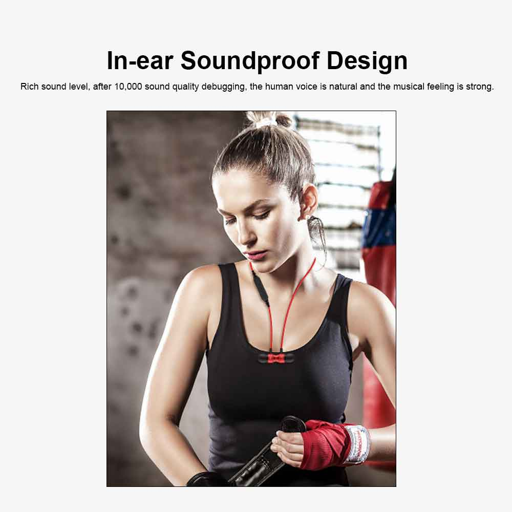 Binaural Sports Bluetooth Headset, 4.1 In-ear With Magnetic Hanging Neck, Charging Bluetooth Headset 2