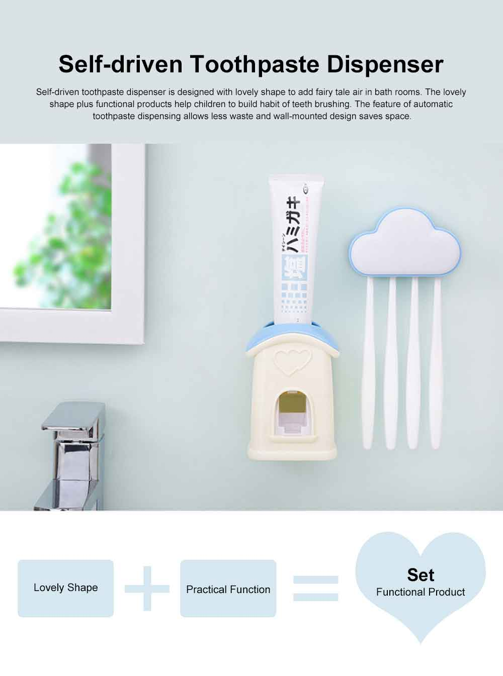 Self-driven Toothpaste Dispenser Lovely Automatic Squeezer Set Anti-dust Stylish Toothbrush Shelf Wall-mounted Storage Shelf No Drilling in Bathrooms 0