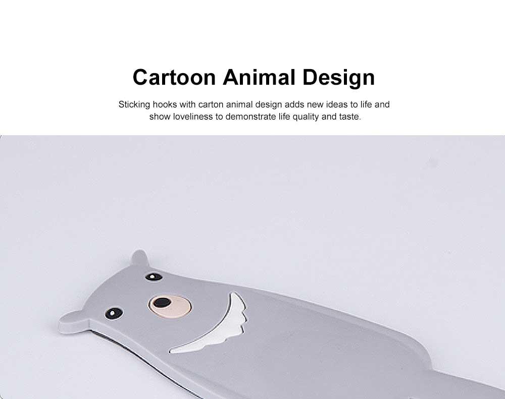 Creative Cartoon-designed Sticking Hook Back-door Used Animal Shape Hook Lovely Style  Sticky Tape for Installation No Drilling Sticky Hooks 1