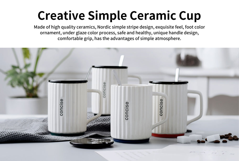Creative Simple Ceramic Cup, Nordic Household Milk Cup with Lid Spoon, Office Drinking Mug 0