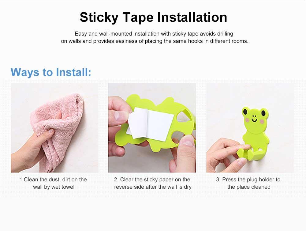 Cartoon Animal Plug Holder for Kitchen Power Supply Sticky Hook for Plug Lovely Animal Shape Wall-mounted Sticky Plug Holder Household Plug Storage Helper 4