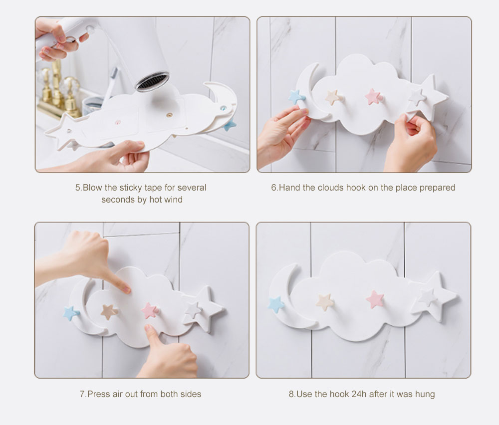 Heavy Load-bearing Cartoon Hook Clouds Hook Sticky Tape Installed Hook Lovely Wall-mounted Hook for Hanging Clothes, Hats Reverse-door-mounted Sticky Hook 3