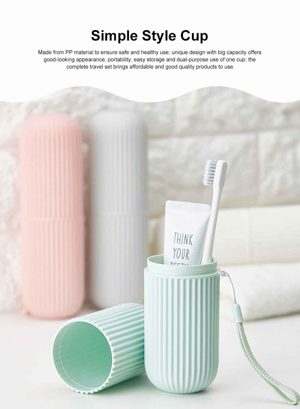 Simple Style Cup for Household or Travel Portable Tooth-brushing Mug Travel Set Couple Cup Household Toothbrush Storage Box 0