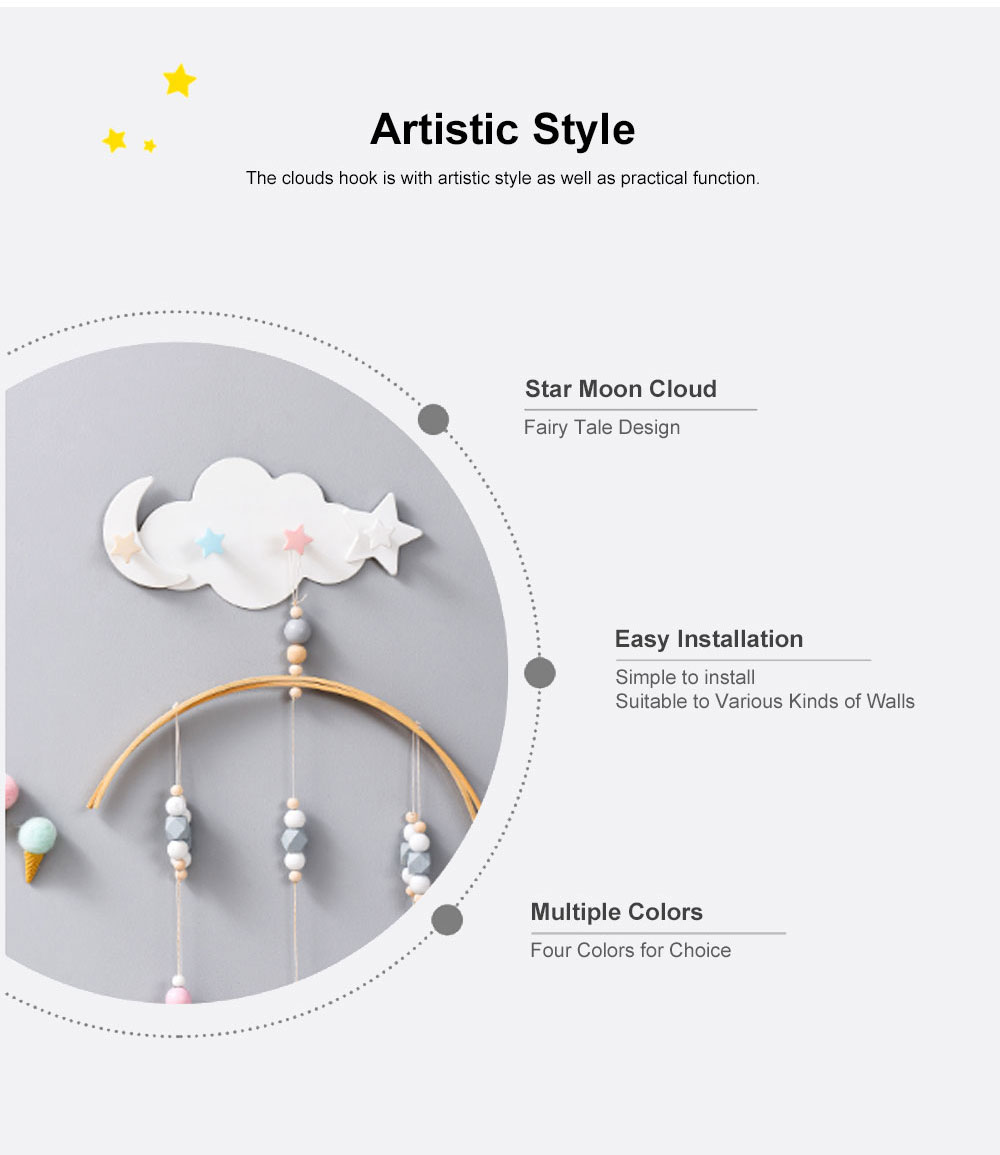 Heavy Load-bearing Cartoon Hook Clouds Hook Sticky Tape Installed Hook Lovely Wall-mounted Hook for Hanging Clothes, Hats Reverse-door-mounted Sticky Hook 5