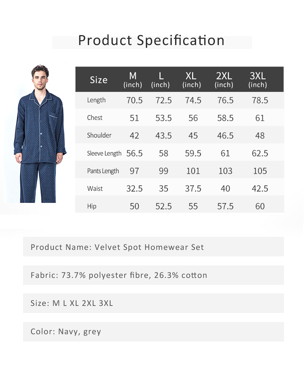 Pajamas Set for Men, Middle Age, Aged, Elderly, Long Sleeve Pajama for Autumn and Winter, Homewear Set with Big Large Size Sleepwear Set 6