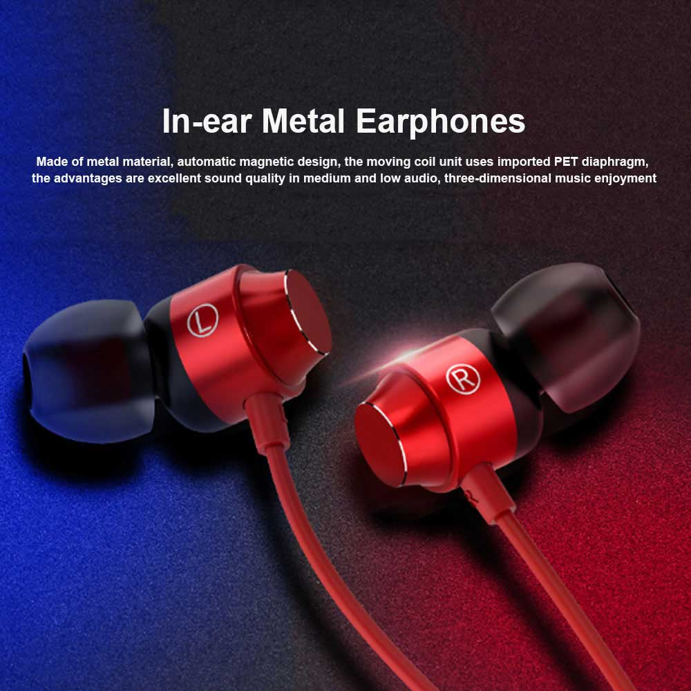 New In-ear Metal Earphones for Mobile Phone and Computer, Magnetic Wire Control with Microphone, Heavy Bass Headphones 0