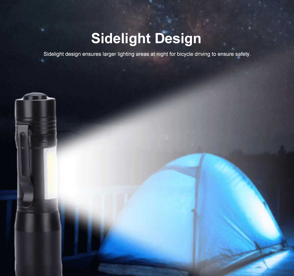 Mini Flash Torch for Outdoor Lighting LED Strong Light AA Battery Q5 Zooming Pen Clip COB Working Light Sidelight Flashlight 5