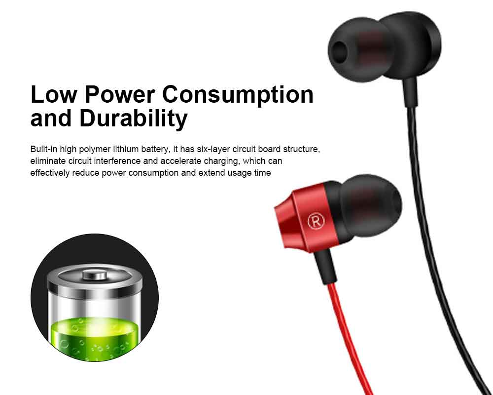 Binaural Sports Bluetooth Headset, 4.1 In-ear With Magnetic Hanging Neck, Charging Bluetooth Headset 4