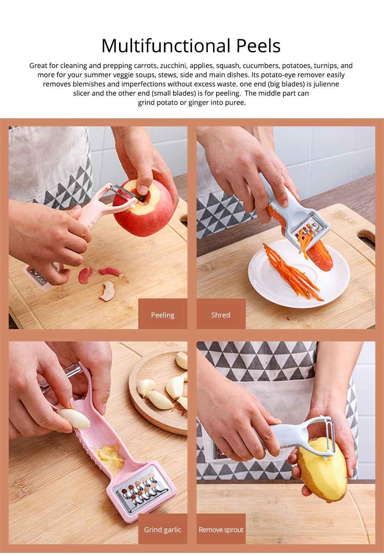Multifunctional Stainless Steel Peeler Knife with Double-headed Fruit Peeler Design , Portable Vegetable Potato Fruit Peeler, Kitchen Cut Tools 3