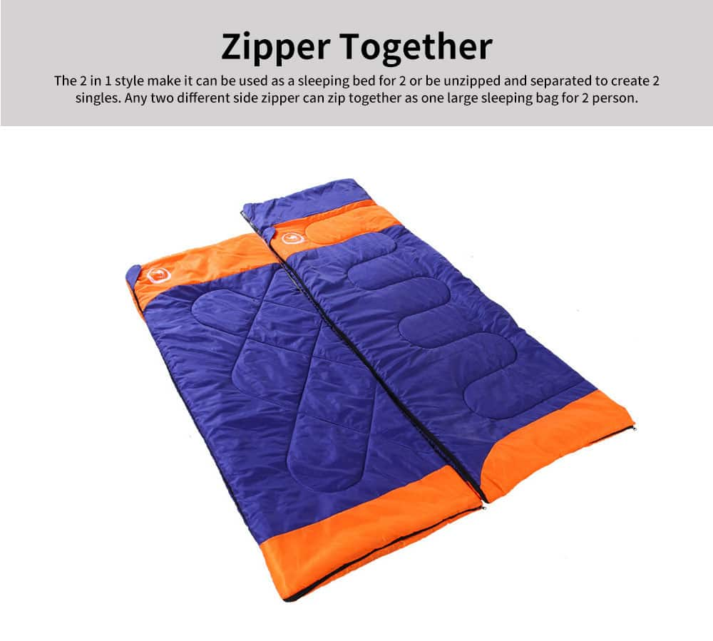 Hollow Cotton Sleeping Bag For Camping Hiking 2 In 1 Single Double Warm