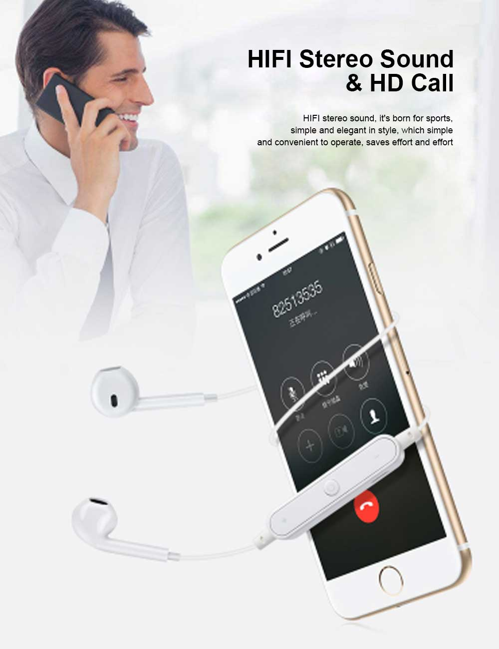 Binaural Running Universal Earphone, Wireless Hanging Neck Earphone, Charging Bluetooth Earphone 1