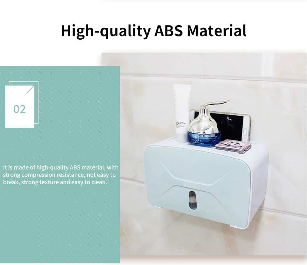 Multi-function Toilet Tissue Box High-quality ABS Free Punching Paper Towel Container with Strong Traceless Paste 2