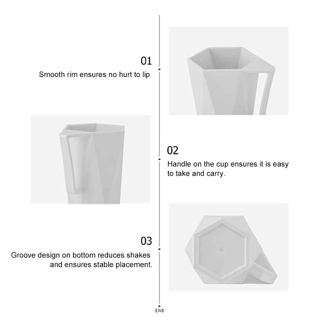 Stylish Geometric Cup with Handle for Toothbrush Simple Household Water Cup Couple Style Cup Plastic Cup 6