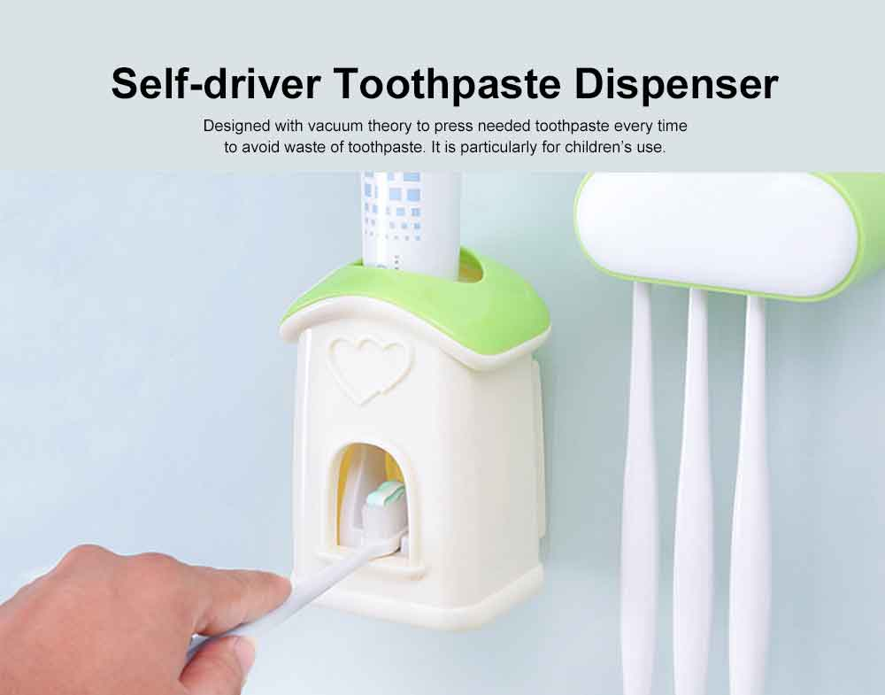 Self-driven Toothpaste Dispenser Lovely Automatic Squeezer Set Anti-dust Stylish Toothbrush Shelf Wall-mounted Storage Shelf No Drilling in Bathrooms 2