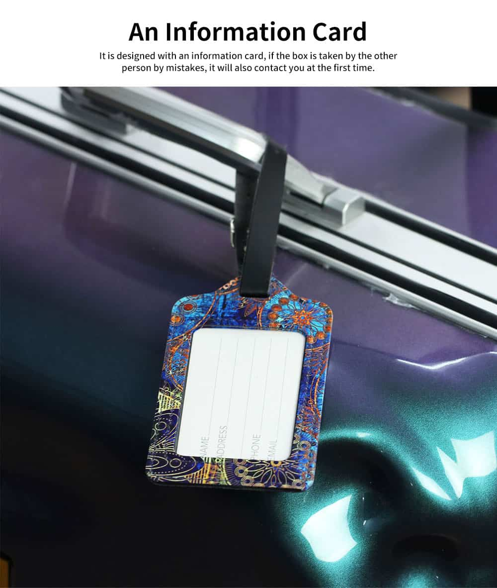 Colorful Special Pattern Luggage Tag, Selected PU Material Baggage Card for Traveler with Colorful Special Pattern 4