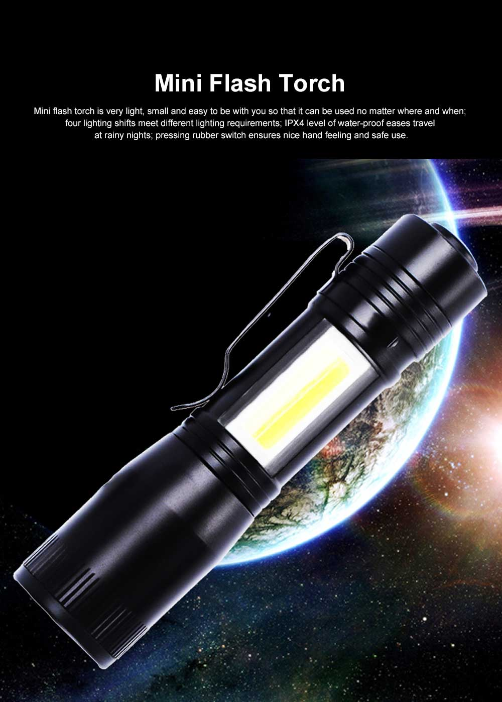 Mini Flash Torch for Outdoor Lighting LED Strong Light AA Battery Q5 Zooming Pen Clip COB Working Light Sidelight Flashlight 0